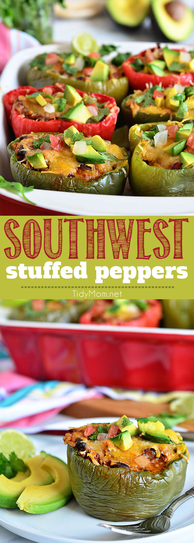 Fresh Bell peppers are filled with rice, browned ground beef, black beans, tomatoes, green chilies and cheese for an easy weeknight dinner with a southwest twist. Southwest Stuffed Peppers recipe at TidyMom.net #stuffedpeppers #southwest #taco #dinner #dinnerrecipe #easydinner