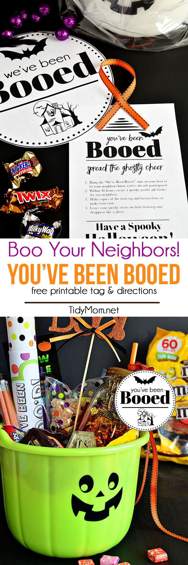 You've Been Booed printable + halloween bucket of goodies