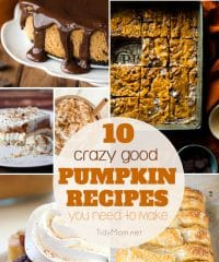10+ Crazy Good PUMPKIN RECIPES you need to make this fall. From Slow Cooker Pumpkin Spice Latte and Pumpkin Cheesecake to Pumpkin Dump Cake, Harry Potter Pumpkin Juice and more! Find all the pumpkin recipes at TidyMom.net