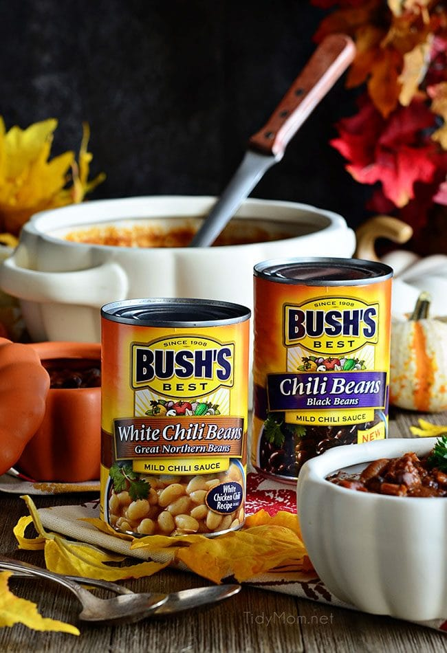 Pumpkin Chili with Bush's White Chili Beans and Bush's Black Chili Beans.