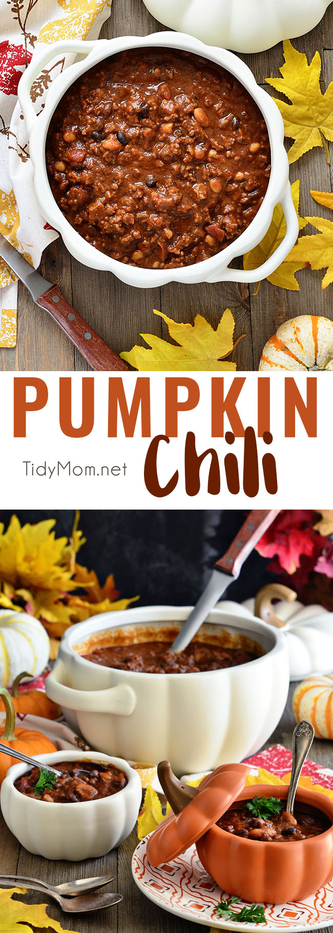 Pumpkin Chili is extra hearty with a delicious sweetness and earthy undertone that takes chili to a whole new level of good.  The perfect way to knock off the chill and satisfy hungry bellies. Chili recipe at TidyMom.net #pumpkin #chili #comfortfood #fall