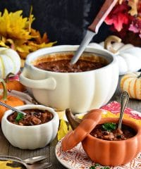 Pumpkin Chili is extra hearty with a delicious sweetness and earthy undertone that takes chili to a whole new level of good.  The perfect way to knock off the chill and satisfy hungry bellies. Chili recipe at TidyMom.net