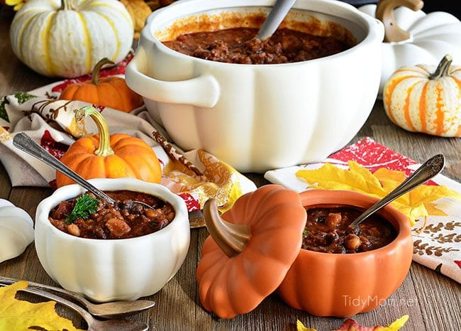 Pumpkin Chili with black and white chili beans.