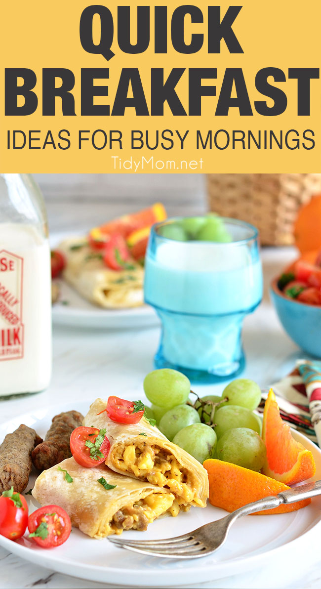 Breakfast is most important meal of the day. Yet, waking up is hard enough and the morning is often the busiest part of the day. So lets make breakfast easy with 5 of the most delicious QUICK BREAKFAST IDEAS AND RECIPES that will make you want to jump out of bed and get your day started! QUICK BREAKFAST IDEAS AND RECIPES at TidyMom.net