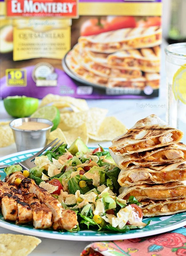 Southwest Chicken Quesadilla Salad is like an explosion in your mouth. Super easy to throw together.