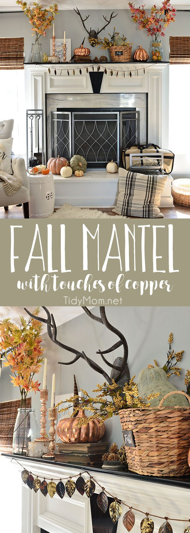 Inspiring Fall Mantel with touches of copper and rose gold