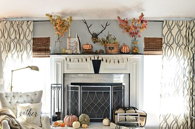 Fall Mantel with touches of copper and rose gold