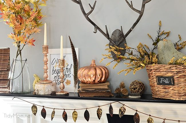 Fall Mantel with cool metals and warm neutrals