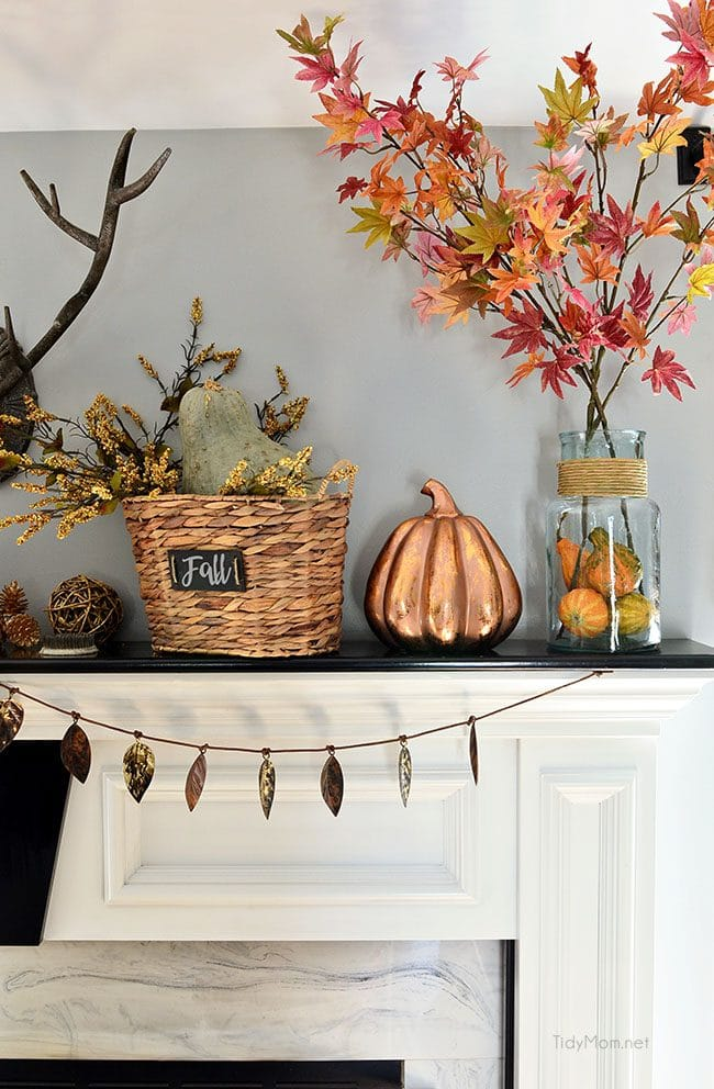 Fall Mantel with touches of copper and warm neutrals