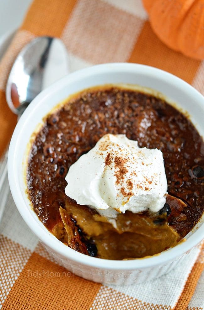 Pumpkin Crème Brûlée with molasses. A simple holiday dessert. Get the recipe at TidyMom.net