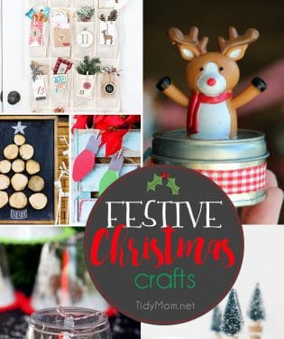 Festive Christmas Crafts to get you in the holiday spirit that the whole family will love. Most of these ideas can be made in no time at all. Get all the info at TidyMom.net