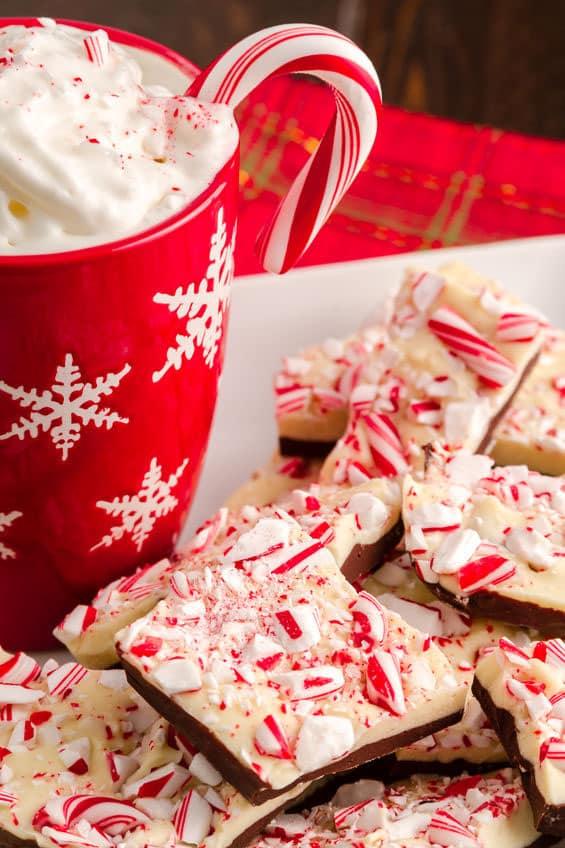 Holiday Chocolate Peppermint Bark with mug