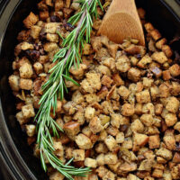 Slow Cooker Stuffing with Artichokes and Toasted Pecans