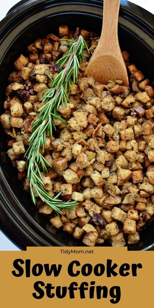 stuffing in a slow cooker and on a plate