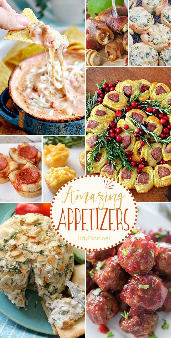Amazing appetizers perfect for any occasion. Get Easy Party Appetizers and Cocktails recipes at TidyMom.net
