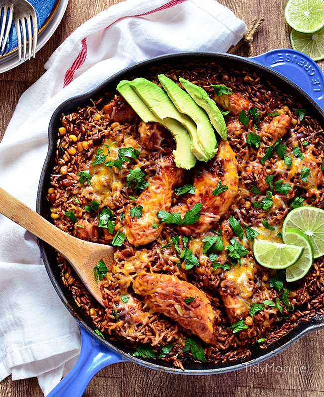 Fried BBQ Chicken Skillet dinner blends barbecue sauce, chicken, baked beans and rice to create a satisfying meal that's ready in 30 minutes. The perfect, easy weeknight recipe for families. Find the recipe at Tidymom.net