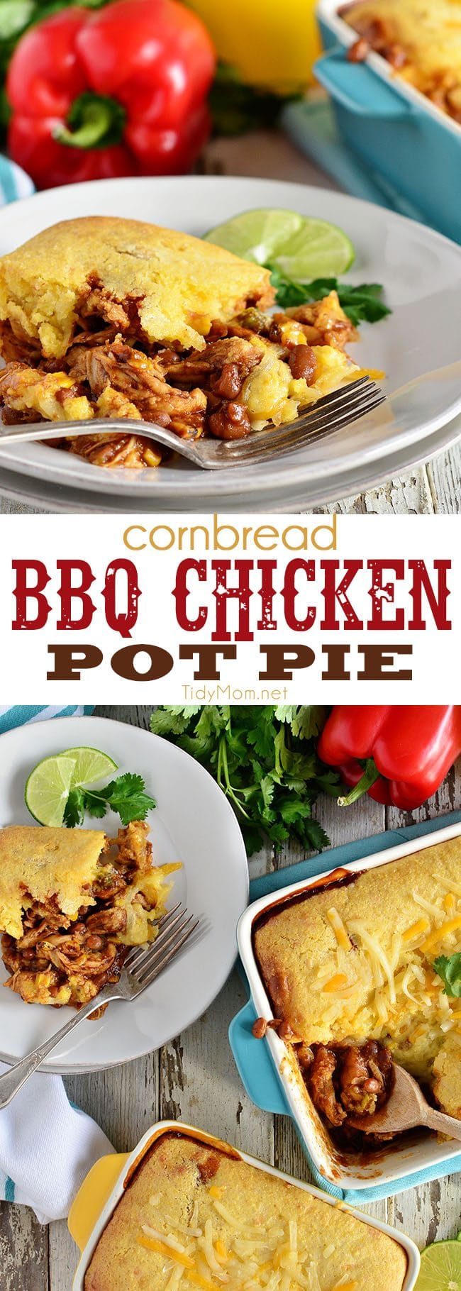BBQ Chicken Pot Pie is comfort food at its finest! A hearty bbq chicken and baked bean filling is topped with cornbread for a taste of summer in the winter!! The flavors blend together so nicely it warms you up from the inside out. Get this family friendly recipe at TidyMom.net