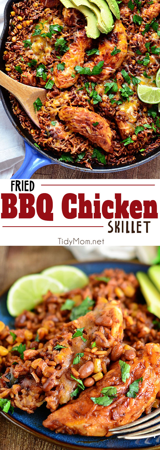 Fried BBQ Chicken Skillet dinner blends barbecue sauce, chicken, baked beans, corn and rice to create a satisfying meal that's ready in 30 minutes. Set with a cozy dinner table and playlist and it's the perfect, weeknight recipe for families. Find the recipe at Tidymom.net #chicken #dinner #dinnerrecipe #bbq