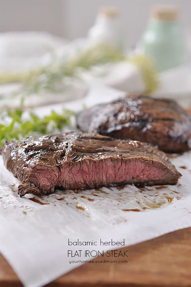 Balsamic Herbed Flat Iron Steak perfect for a Valentine's Day Dinner Meal Plan