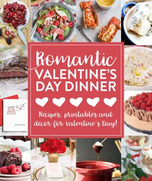 Valentines Day Dinner Meal Plan from appetizer to dessert recipes, to printables and decor for a Valentine's Day Dinner. Get all the recipes and details at TidyMom.net