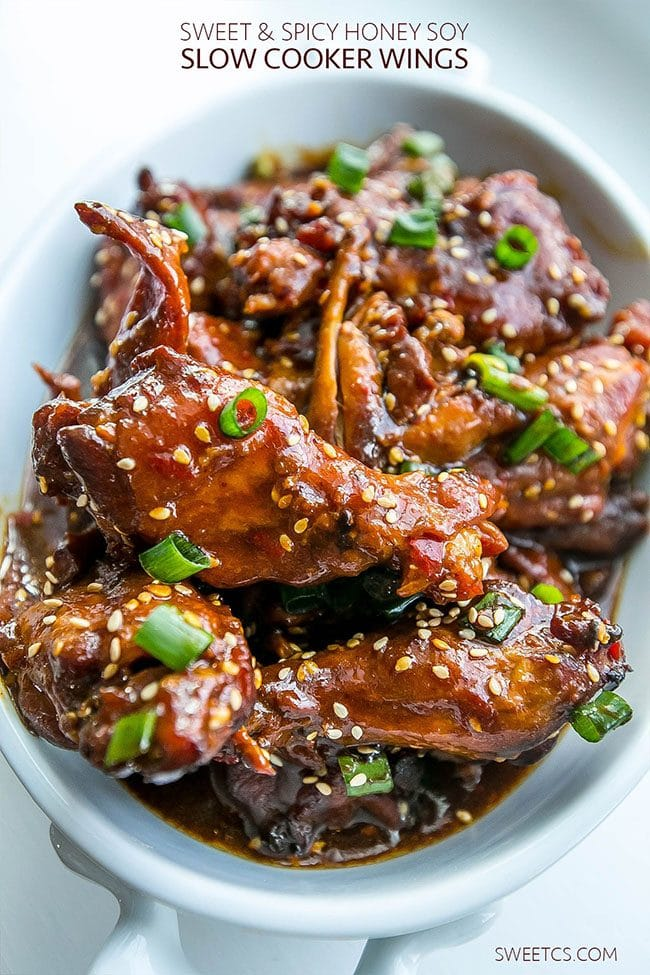 Game Day Party Plan Sweet and Spicy Honey Soy Slow Cooker Wings