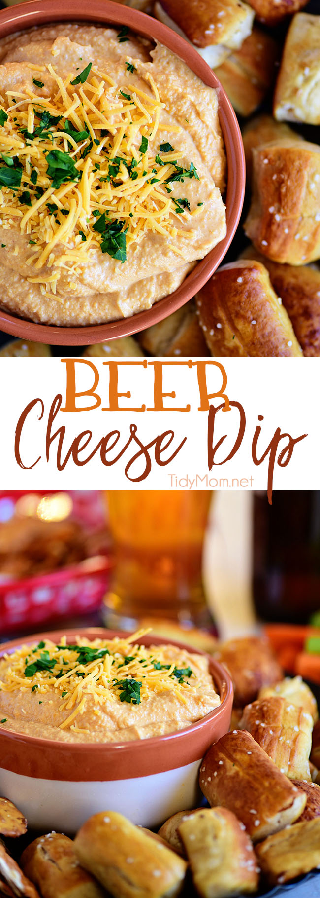 Pub-style Beer Cheese Dip.  Serve warm or cold, everyone will love this dip.  Print the full recipe recipe at TidyMom.net #cheesedip #beercheese #beer #appetizer