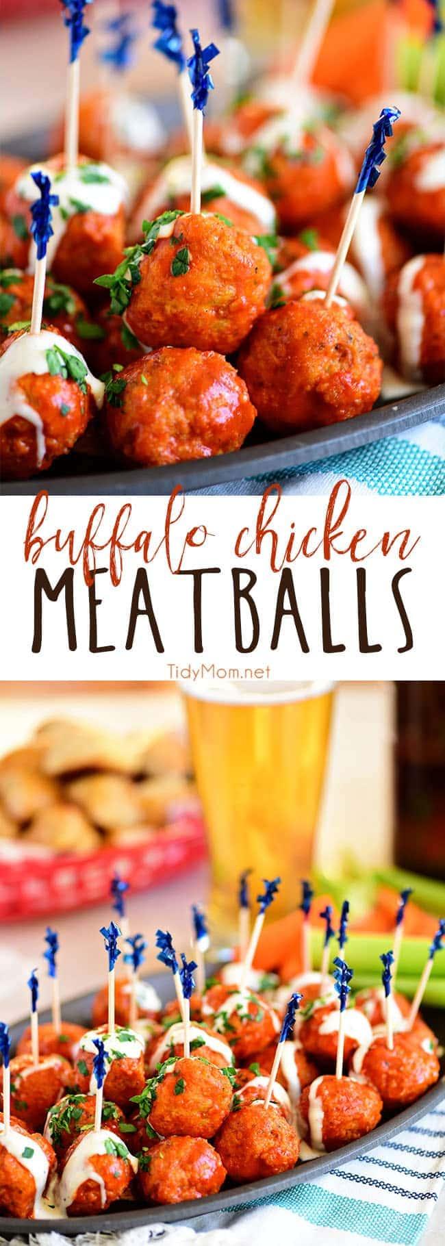 Buffalo Chicken Meatballs with Ranch tastes just like buffalo hot wings. Get the recipe at TidyMom.net #meatballs #buffalochicken #appetizer