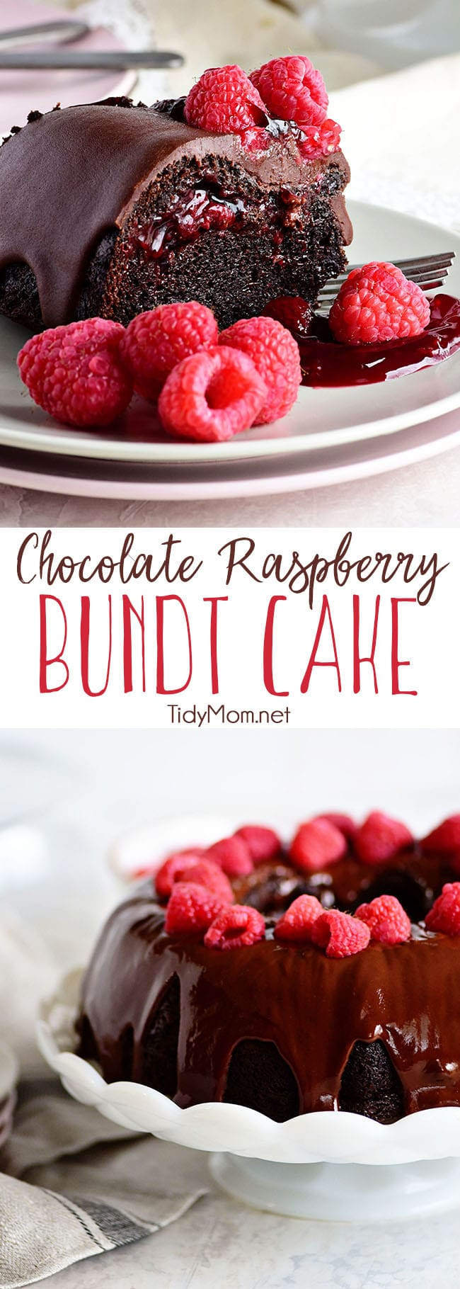 Chocolate Raspberry Bundt Cake with a surprise raspberry filling and a Chocolate Chambord Glaze will put any chocolate lover into a state of pure bliss. Get the full printable recipe for this chocolate bundt cake at TidyMom.net #cake #chocolatecake #raspberry #desserts #bundtcake