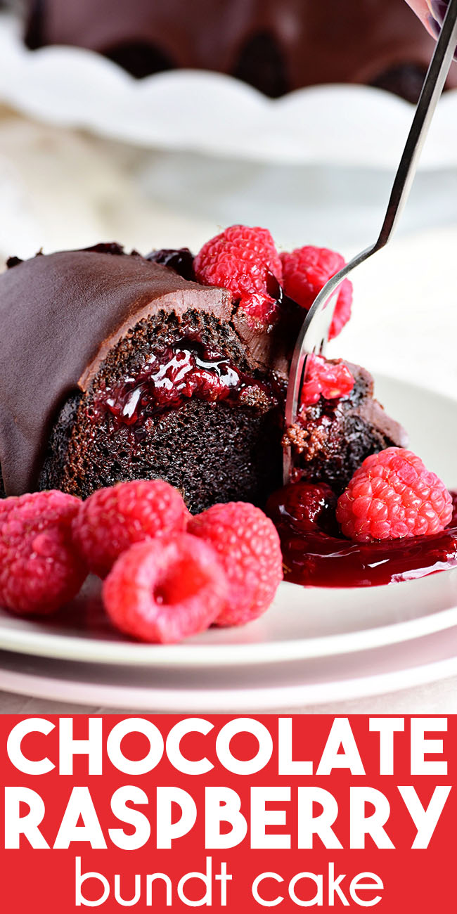 Chocolate Raspberry Bundt Cake with a fork