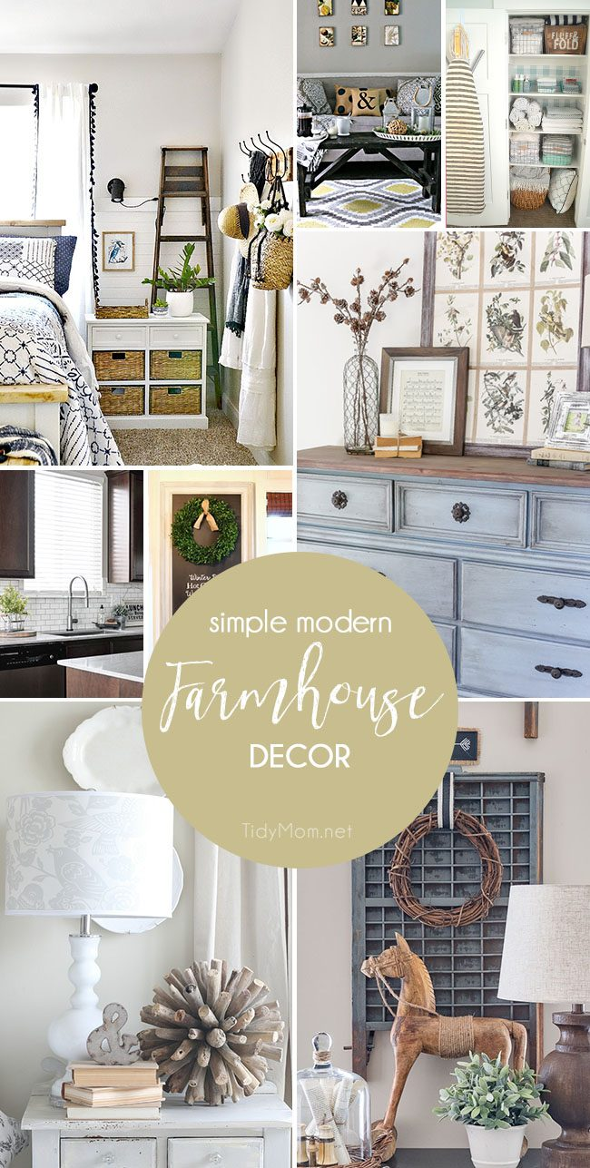 Simple Modern Farmhouse Decorating is more popular than ever, thanks to Chip and Joanna! This home decor style is charming, comforting, and warm - a classic design that changes a little through the years, but never get's old. Farmhouse Decor inspiration at TidyMom.net