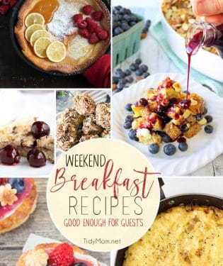 I'll never pass up good breakfast. Whether it's brunch, or breakfast for dinner, these weekend breakfast recipes are easy, yet good enough for guests! Get all the recipes and details at TidyMom.net