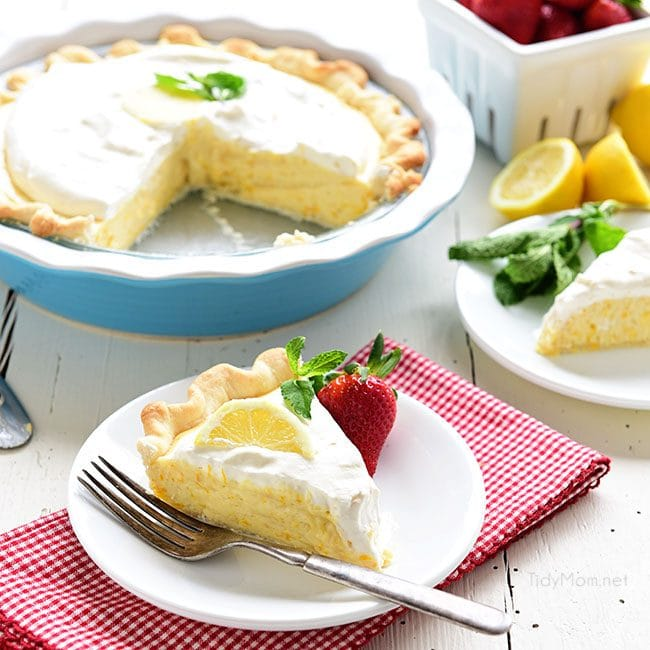 a Meyer Lemon Pie with a piece cut and served on a plate