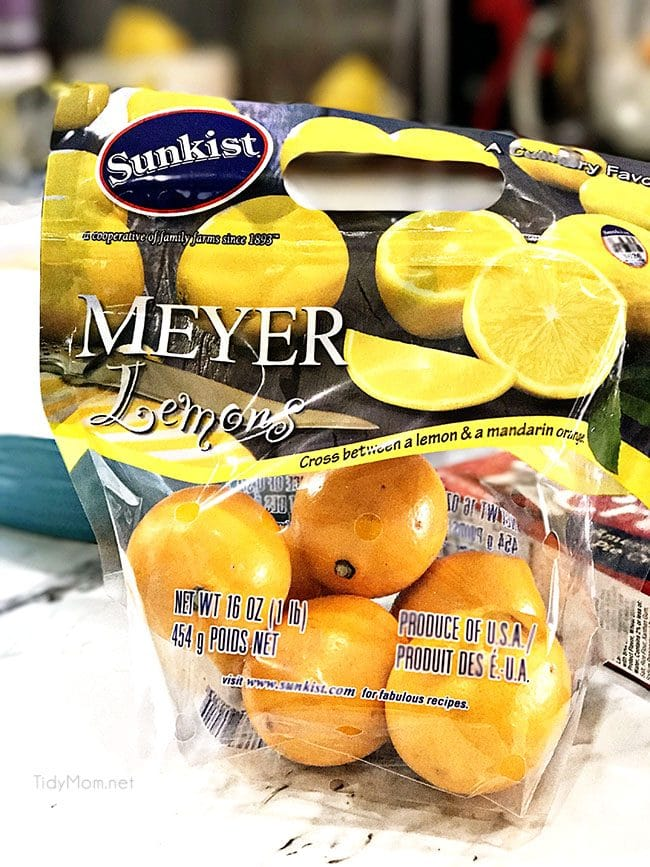 If you've never had Meyer lemons, they are thought to be a cross between a lemon and a mandarin orange. Meyer lemons are smaller and more round than regular lemons with a deep yellow or orange skin. They are sweeter than a regular lemon. Find out more, and a recipe for Meyer Lemon Pie at TidyMom.net