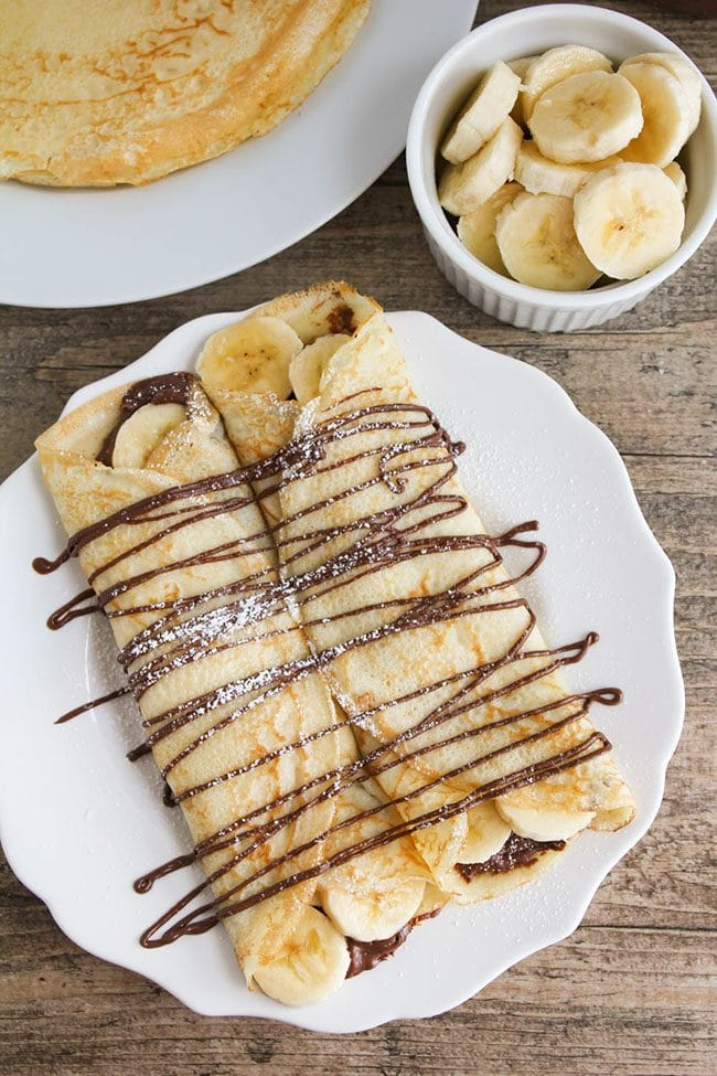 Mother's Day Brunch Meal Plan recipes, printables and decor at TidyMom.net - Nutella Banana Crepes recipe