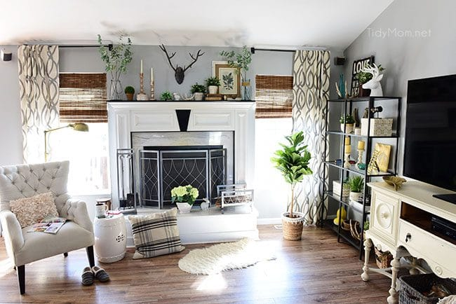 Transition to Spring Family Room Decor. Kick winter to the curb! Bring in the feel of freshness and spring to your home with lots of greenery, flowers and colorful pillows. See the full Spring Family Room Tour at TidyMom.net