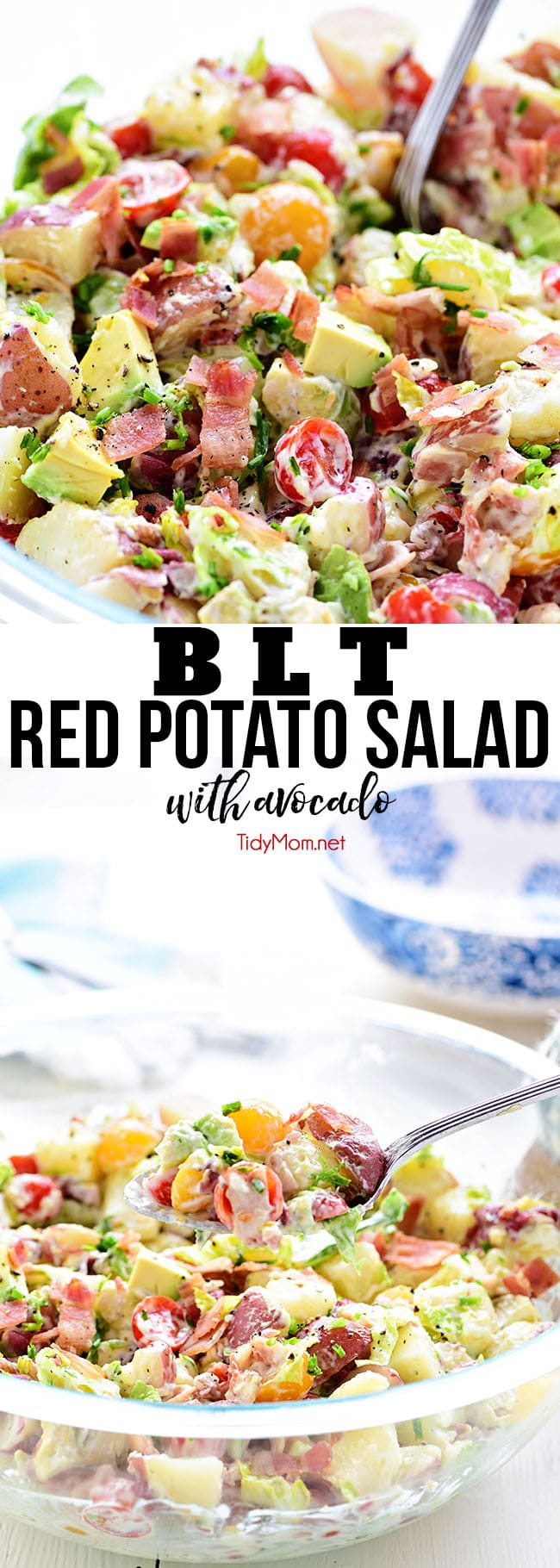 This easy BLT Red Potato Salad has an avocado ranch dressing along with bacon, lettuce, and tomato! It's a simple crowd-pleasing side dish! Recipe video + printable recipe at TidyMom.net #blt #potatosalad #avocado #sidedish