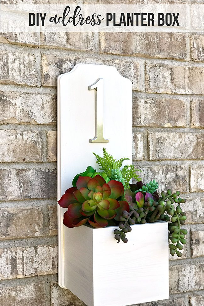 address planter box with house number and succulents