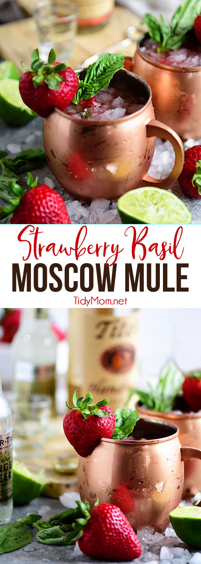 Strawberry Basil Moscow Mule is the perfect summer cocktail. Made like a traditional Moscow Mule with vodka, ginger beer and lime, with the addition of muddled fresh strawberries and basil. Print the recipe at TidyMom.net #cocktails #cocktailrecipe #moscowmule #strawberry