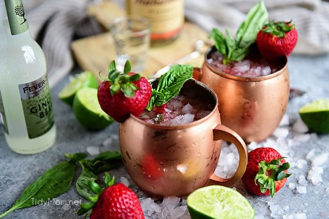 Strawberry Basil Moscow Mule is the perfect summer cocktail. Made like a traditional Moscow Mule with vodka, ginger beer and lime, with the addition of muddled fresh juicy strawberries and basil.
