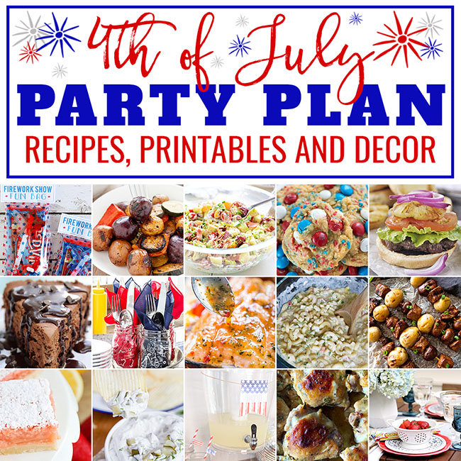 4th of July Party Plan! From appetizers to red, white and blue desserts to free patriotic printables and decor — you will find everything you need for a spectacular Independence Day Bash this summer! Get it all at TidyMom.net