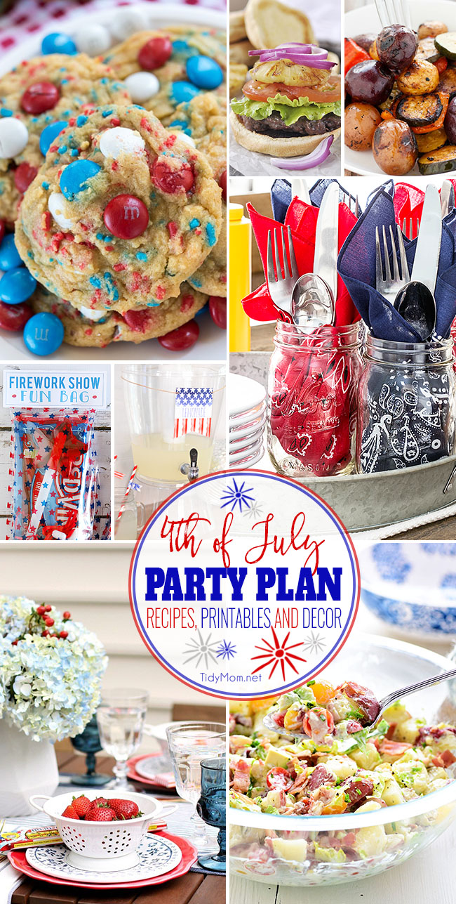 4th of July Party Plan! From appetizers to red, white and blue desserts to free patriotic printables and decor — you will find everything you need for a spectacular Independence Day Bash this summer! Get all these fourth of July ideas at TidyMom.net