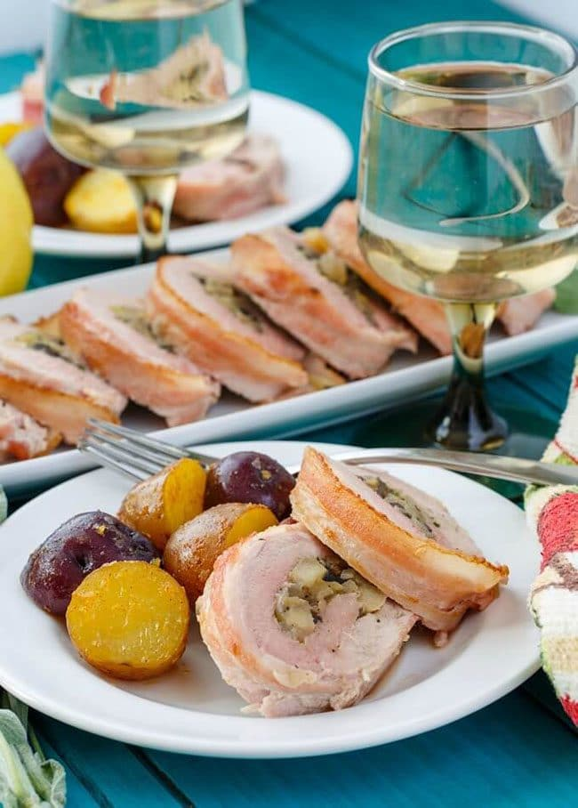 Summer Barbecue Meal Plan for Father's Day! Tons of great ideas to celebrate Dad this Father's Day, and any of these recipes would be great for a backyard barbecue this summer! Get recipes, printables and party decor at TidyMom.net - Bacon Wrapped Apple Stuffed Pork Tenderloin