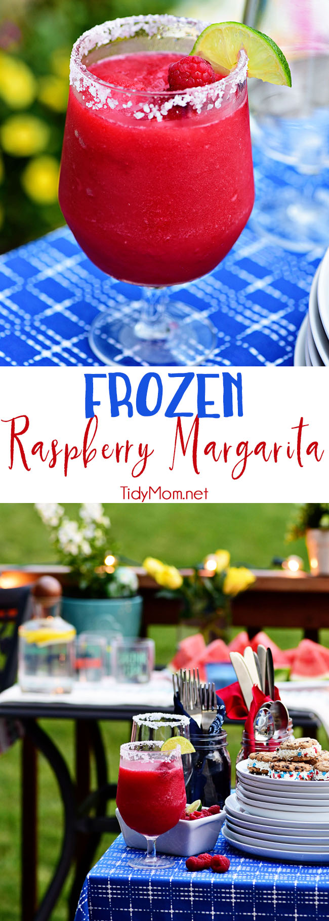 Frozen Raspberry Margarita is the perfect summer cocktail. Raspberry sorbet puts a refreshing twist on the traditional margarita, for a cool party sip!  Get the full recipe at TidyMom.net #cocktails #margarita #raspberry #cocktailrecipe