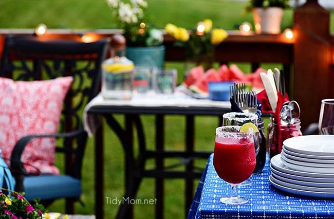 Frozen Raspberry Margarita is the perfect summer cocktail. Raspberry sorbet puts a refreshing twist on the traditional margarita, for a cool party sip! Get the full recipe at TidyMom.net