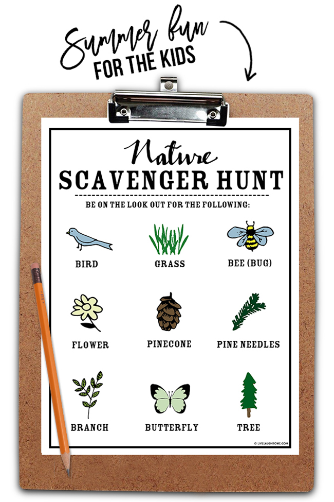 Nature Scavenger Hunt Printable image from Live Laugh Rowe: How to Plan a Perfect Picnic. Get recipes, printables and more to plan a perfect picnic at TidyMom.net