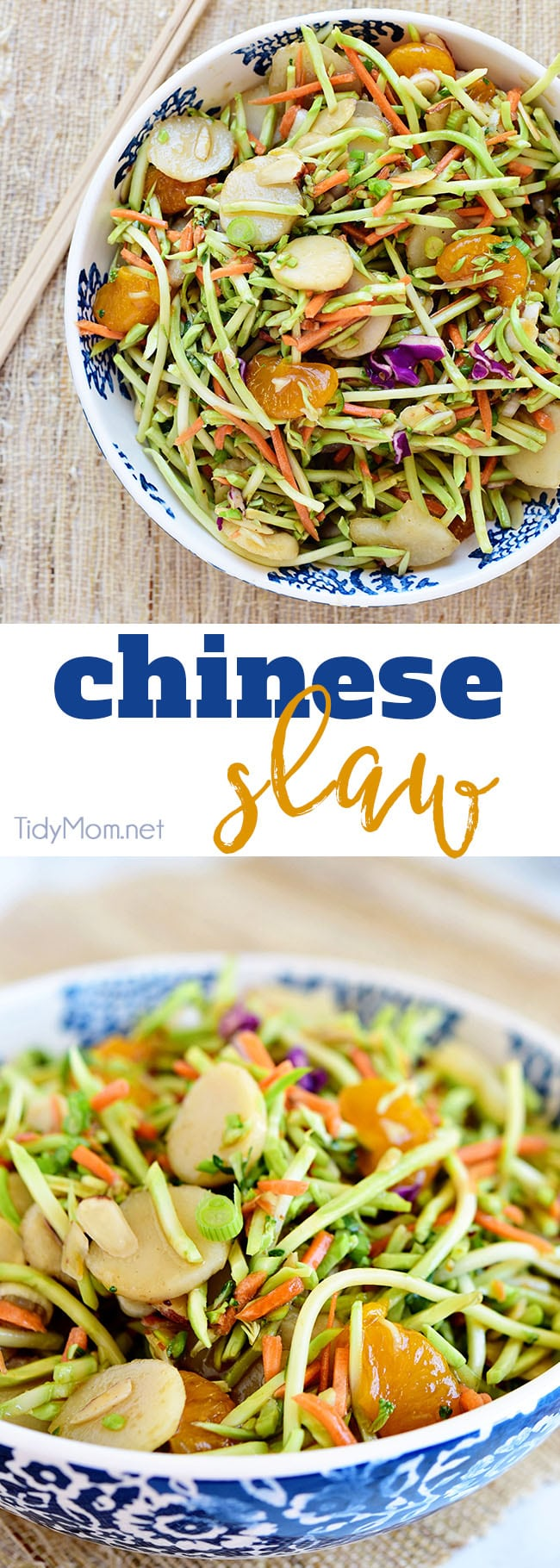 This flavorful and ridiculously easy Chinese Slaw is full of crunch and a perfect addition to summer menus. Your guests are sure to go back for seconds so do yourself a favor and make a double batch. Print recipe at TidyMom.net