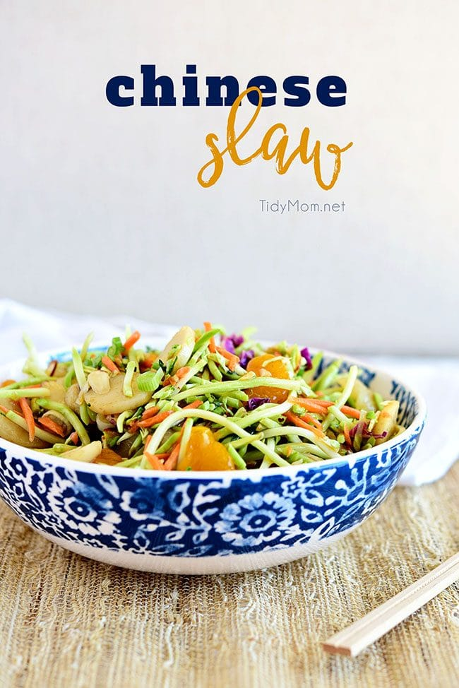 This flavorful and ridiculously easy Chinese Slaw is full of crunch and great to serve at a BBQ. Your guests are sure to go back for seconds so do yourself a favor and make a double batch. Print recipe at TidyMom.net