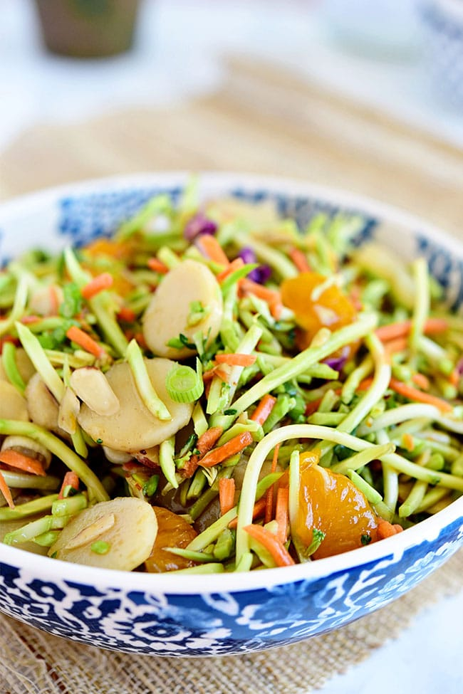 slaw with oranges and almonds in a bowl