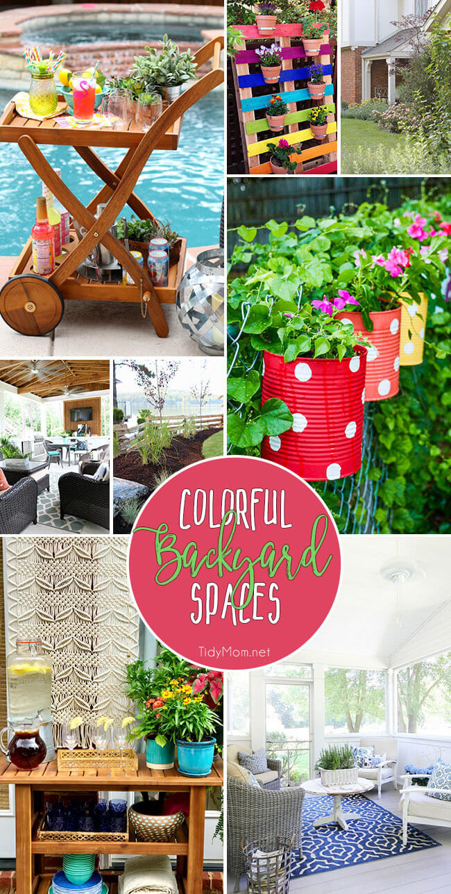Summer is here and it's time to sweep off the porch and pull out the outdoor cushions! Whether you have a small patio or a large backyard with a pool, there are lots of ways to add color to your outdoor space. From DIY painted planters, to a cottage garden and screened in porches these Colorful Backyard Spaces can set the mood for a party or just relaxing. Details at TidyMom.net