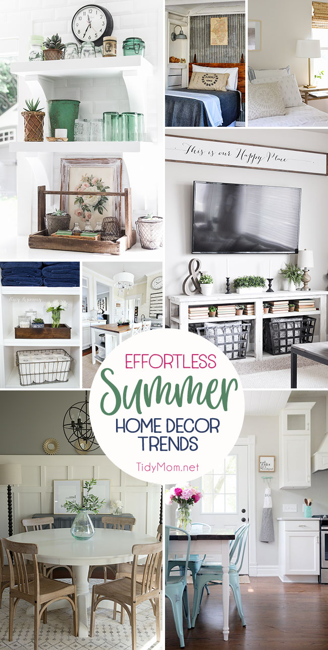 Summer is warm, bright, relaxed days followed by cool, easy, nights. Bring that laid-back feeling to your decor with these Effortless Summer Decor Home Trends. Details at TidyMom.net